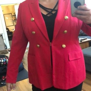 Soft Red Blazer with gold buttons